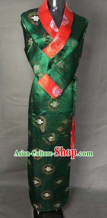 Chinese Traditional Zang Nationality Clothing Green Tibetan Robe, China Tibetan Ethnic Heishui Dance Costume for Women
