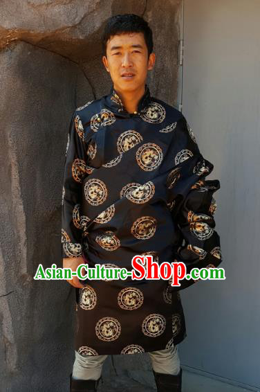 Chinese Traditional Zang Nationality Costume Black Brocade Tibetan Robe, China Tibetan Ethnic Clothing for Men