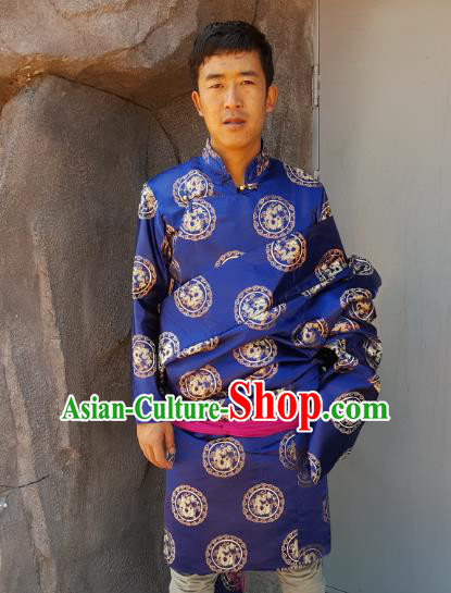 Chinese Traditional Zang Nationality Costume Blue Brocade Tibetan Robe, China Tibetan Ethnic Clothing for Men
