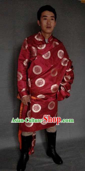 Chinese Traditional Zang Nationality Costume Red Brocade Tibetan Robe, China Tibetan Ethnic Clothing for Men