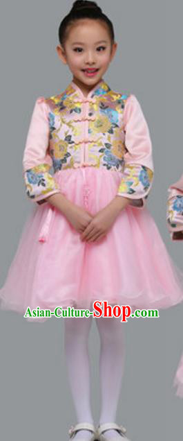 Top Grade Chinese Classical Dance Pink Bubble Dress Stage Performance Chorus Costume for Kids