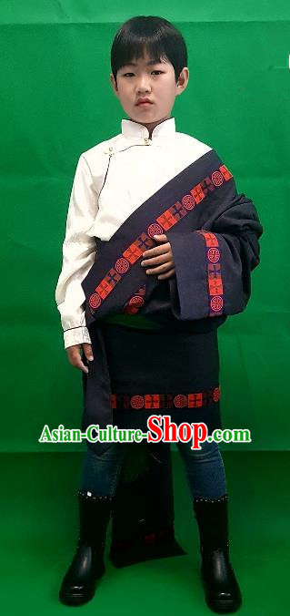 Chinese Traditional Zang Nationality Children Costume, China Tibetan Ethnic Black Robe for Kids