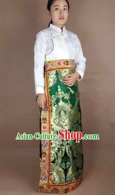 Chinese Traditional Zang Nationality Clothing Green Brocade Bust Skirt, China Tibetan Ethnic Heishui Dance Costume for Women