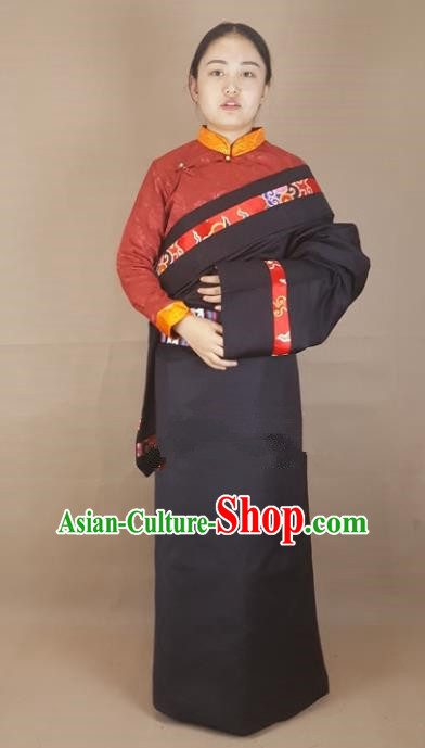 Chinese Traditional Zang Nationality Clothing Tibetan Robe, China Tibetan Ethnic Heishui Dance Costume for Women