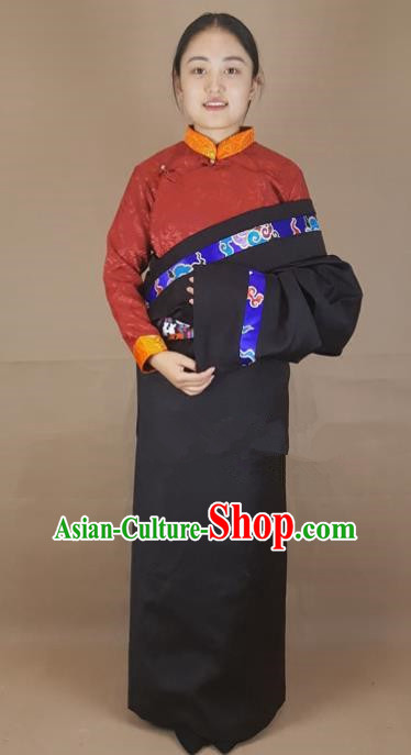 Chinese Traditional Zang Nationality Clothing Black Tibetan Robe, China Tibetan Ethnic Heishui Dance Costume for Women