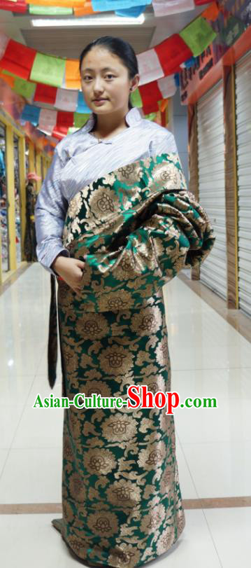 Chinese Traditional Zang Nationality Deep Green Dress Clothing, China Tibetan Ethnic Heishui Dance Costume for Women
