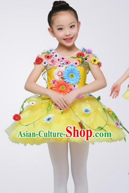 Top Grade Modern Dance Ballet Dance Yellow Veil Dress Stage Performance Chorus Costume for Kids