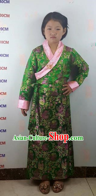Chinese Traditional Zang Nationality Children Costume, China Tibetan Ethnic Green Brocade Dress for Kids