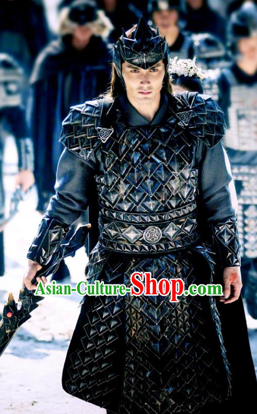 Chinese Ancient Swordsman Clothing Legend of Fu Yao General Historical Body Armor and Helmet Complete Set for Men