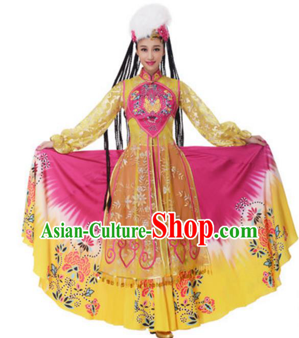 Chinese Traditional Uyghur Nationality Yellow Dress, China Uigurian Minority Ethnic Dance Costume and Headpiece for Women