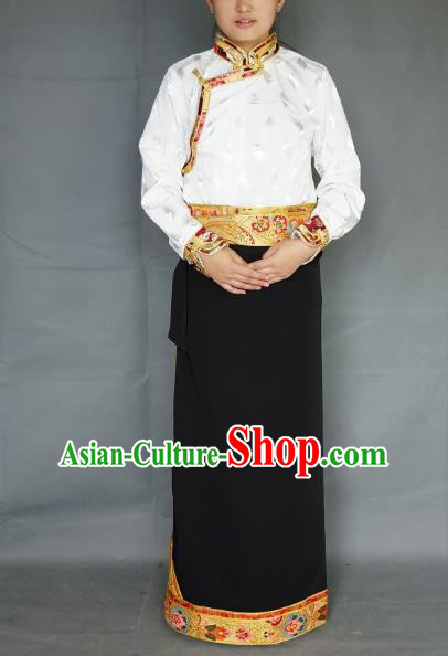 Chinese Traditional Zang Nationality Black Brocade Skirt, China Tibetan Heishui Dance Costume for Women