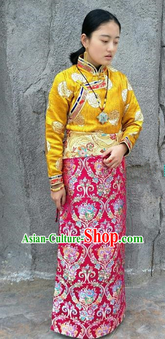 Chinese Traditional Zang Nationality Rosy Brocade Bust Skirt, China Tibetan Heishui Dance Costume for Women