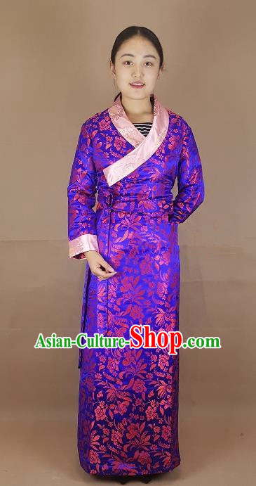 Chinese Traditional Zang Nationality Heishui Dance Costume, China Tibetan Purple Brocade Dress for Women