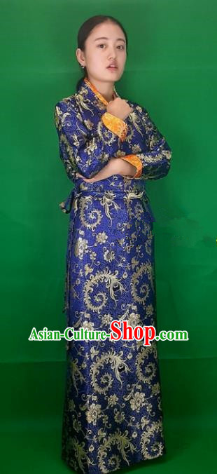 Chinese Traditional Zang Nationality Heishui Dance Costume, China Tibetan Royalblue Brocade Dress for Women