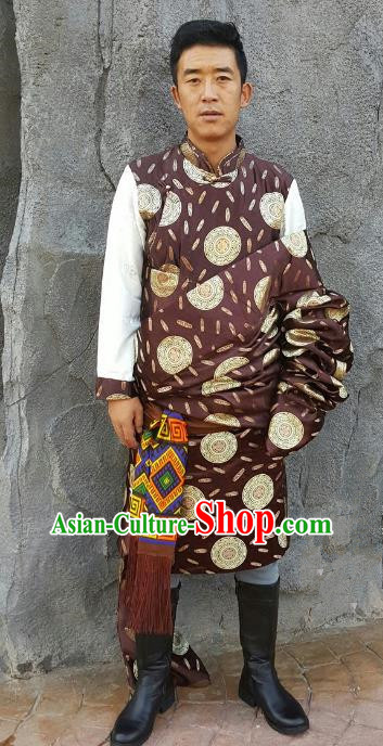 Chinese Traditional Zang Nationality Costume Brown Brocade Tibetan Robe, China Tibetan Ethnic Clothing for Men