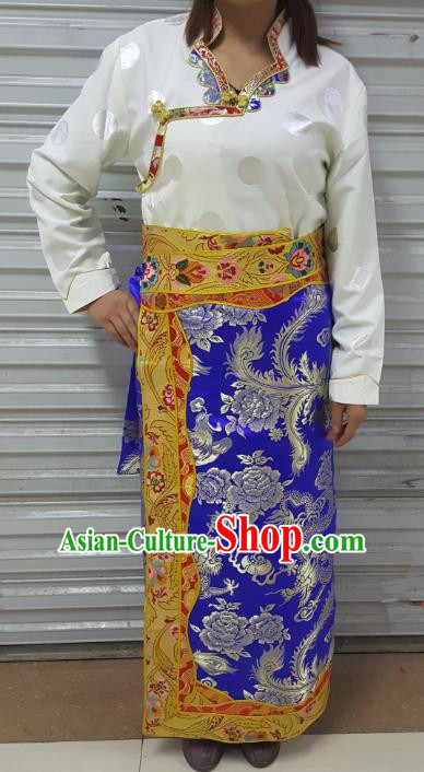 Chinese Traditional Zang Nationality Costume, China Tibetan Heishui Dance Royalblue Brocade Skirt for Women