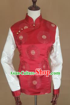 Chinese Traditional Zang Nationality Red Brocade Vest, China Tibetan Waistcoat Costume for Women