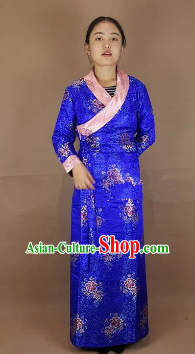 Chinese Traditional Zang Nationality Costume Royalblue Brocade Dress, China Tibetan Heishui Dance Clothing for Women