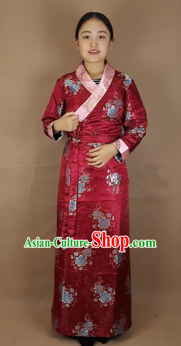 Chinese Traditional Zang Nationality Costume Wine Red Brocade Dress, China Tibetan Heishui Dance Clothing for Women