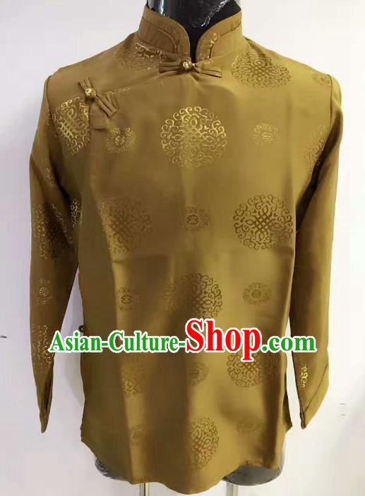 Chinese Traditional Zang Nationality Costume Ginger Shirts, China Tibetan Ethnic Upper Outer Garment Clothing for Men