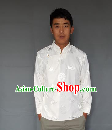 Chinese Traditional Zang Nationality Costume White Shirts, China Tibetan Ethnic Upper Outer Garment Clothing for Men