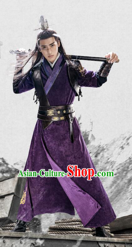 Chinese Han Dynasty Swordsman Clothing Ancient Nobility Childe Knight Historical Costume for Men