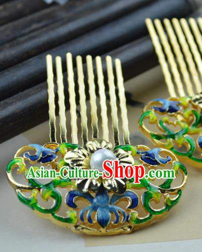 Chinese Traditional Ancient Hair Accessories Hanfu Hairpins Blueing Lotus Hair Comb Headwear for Women
