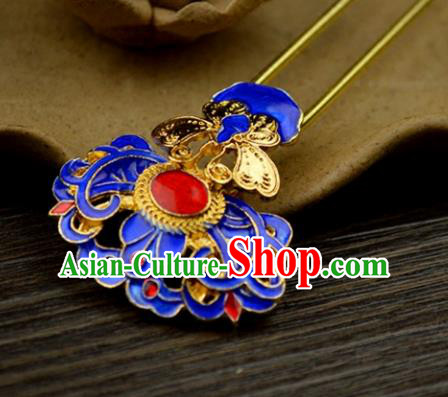 Chinese Traditional Ancient Hair Accessories Hanfu Hairpins Blueing Golden Butterfly Hair Clip Headwear for Women