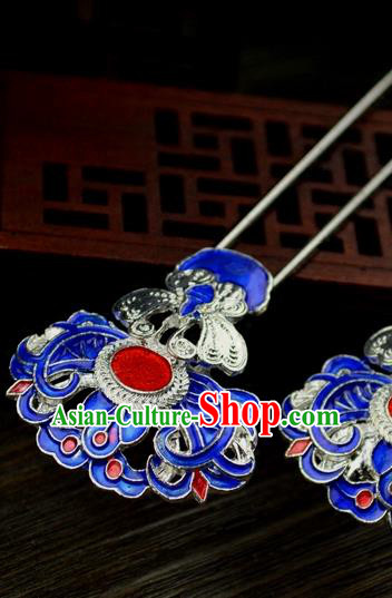 Chinese Traditional Ancient Hair Accessories Hanfu Hairpins Blueing Butterfly Hair Clip Headwear for Women