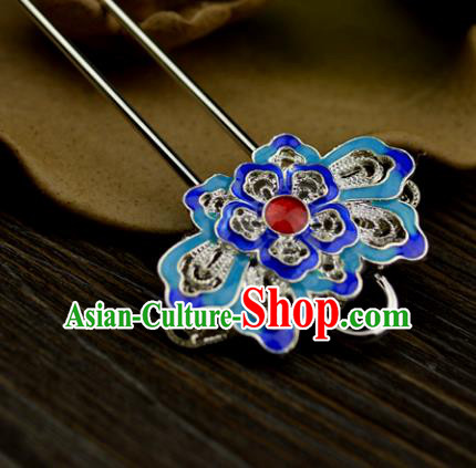 Chinese Traditional Ancient Hair Accessories Hanfu Hairpins Cloisonne Blueing Lotus Hair Clip Headwear for Women