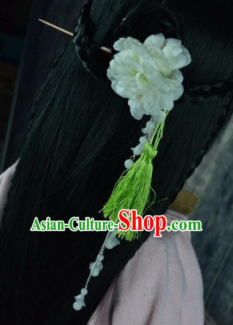 Chinese Traditional Ancient Hair Accessories Hanfu Peony Hairpins Green Tassel Hair Clip Headwear for Women