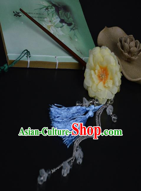 Chinese Traditional Ancient Hair Accessories Hanfu Peony Hairpins Blue Tassel Hair Clip Headwear for Women
