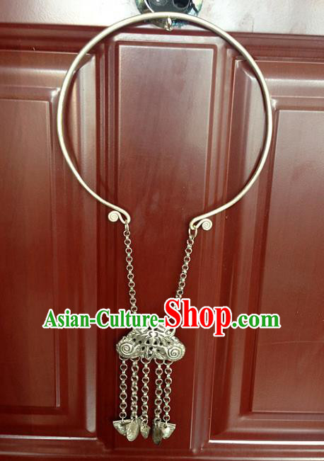 Chinese Traditional Ornaments Accessories Longevity Lock Ancient Miao Minority Necklace for Women