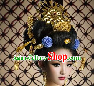 Chinese Traditional Ancient Queen Phoenix Coronet Hairpins Hair Accessories for Women