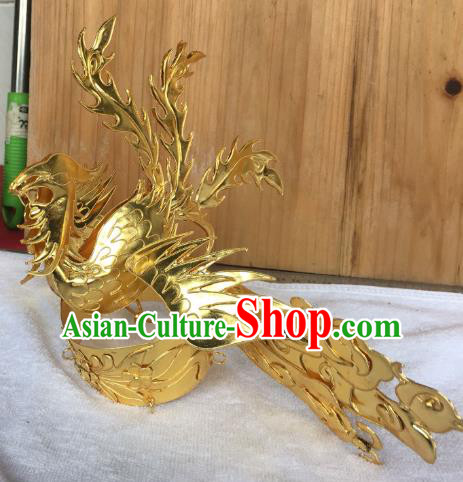 Chinese Traditional Ancient Queen Golden Phoenix Coronet Hairpins Hair Accessories for Women