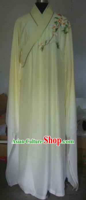 Chinese Traditional Beijing Opera Niche Costumes China Peking Opera Printing Peach Blossom Yellow Robe for Adults