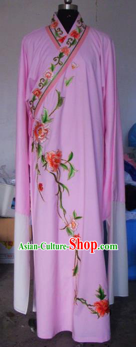 Chinese Traditional Beijing Opera Niche Costumes China Peking Opera Scholar Embroidered Peony Pink Clothing for Adults