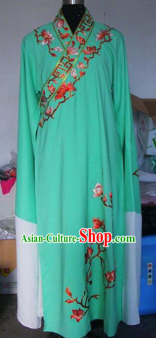 Chinese Traditional Beijing Opera Niche Costumes China Peking Opera Scholar Embroidered Mangnolia Green Clothing for Adults