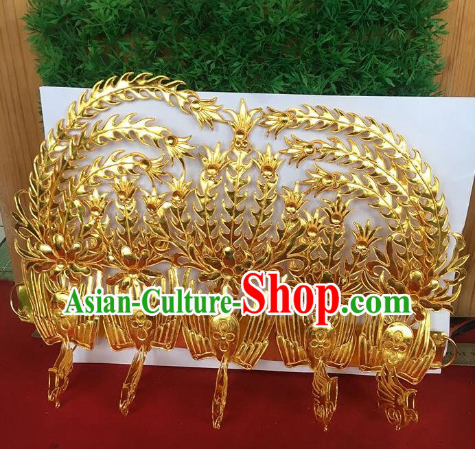Chinese Traditional Ancient Queen Headwear Palace Golden Phoenix Coronet Hairpins Hair Accessories for Women