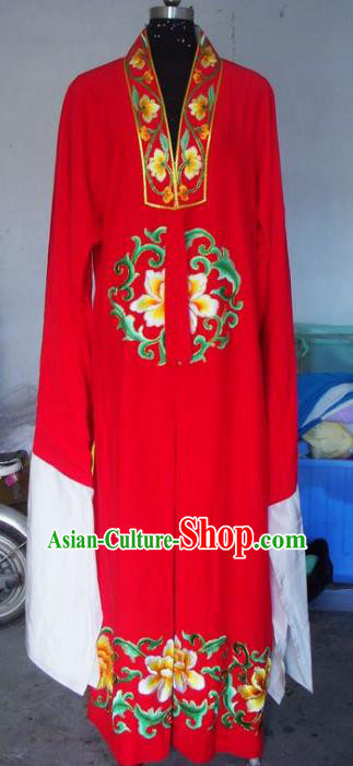 Chinese Traditional Beijing Opera Scholar Costumes China Peking Opera Niche Embroidered Peony Red Robe for Adults