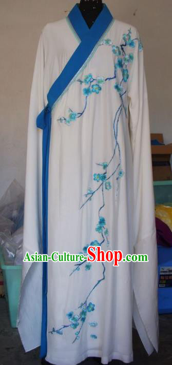 Chinese Traditional Beijing Opera Scholar Costumes Embroidered Plum Blossom White Robe for Adults