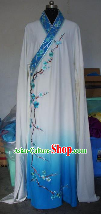 Chinese Traditional Beijing Opera Scholar Costumes Embroidered Plum Blossom Blue Robe for Adults