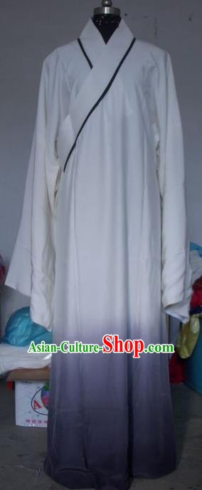 Chinese Traditional Beijing Opera Scholar Costumes Niche White Robe for Adults