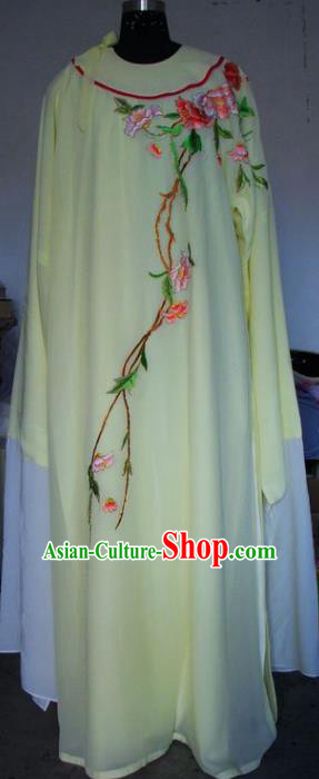 Chinese Traditional Beijing Opera Scholar Costumes Niche Embroidered Peony Yellow Robe for Adults
