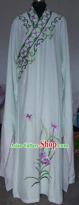 Chinese Traditional Beijing Opera Scholar Costumes Niche Embroidered Orchid White Silk Robe for Adults