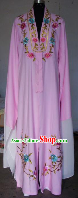 Chinese Traditional Beijing Opera Scholar Costumes Niche Embroidered Peony Pink Robe for Adults