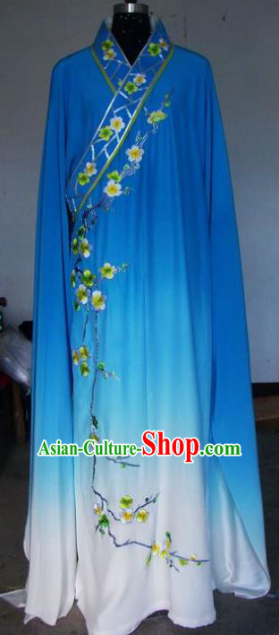 Chinese Traditional Beijing Opera Scholar Costumes Niche Embroidered Wintersweet Blue Robe for Adults