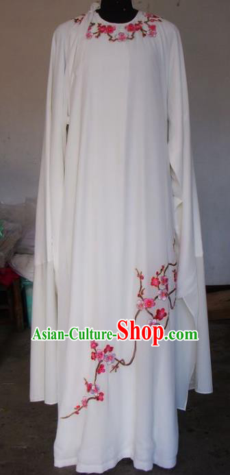 Chinese Traditional Beijing Opera Scholar Costumes Niche Embroidered Wintersweet White Robe for Adults