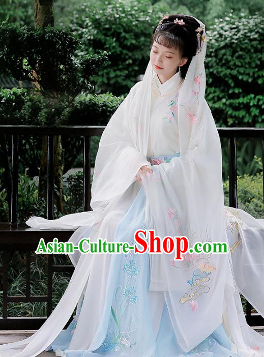 Chinese Ancient Jin Dynasty Princess Hanfu Dress Embroidered Costumes Complete Set for Women