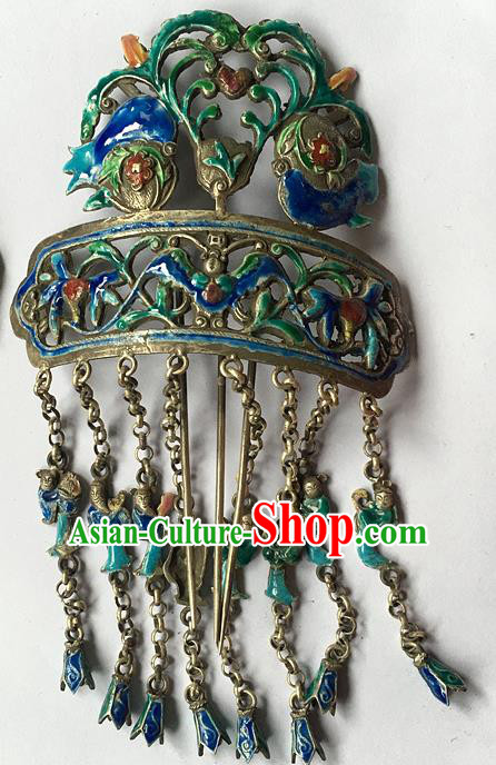 Chinese Traditional Ancient Blueing Carving Tassel Hair Clip Hanfu Hairpins Hair Accessories for Women